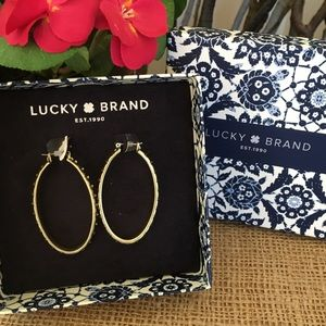 NWT Lucky Brand Pave Oval Hoop Earrings